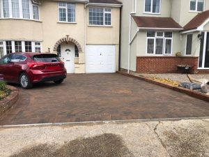 Block Paving Driveway with Wooden Sleepers in Broomfield, Chelmsford