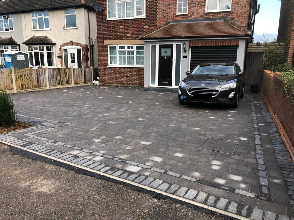 Charcoal Tegula Paving Driveway with Matching Border in Chelmsford