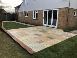 Indian Sandstone and Tegula Paving Patio in Springfield, Chelmsford