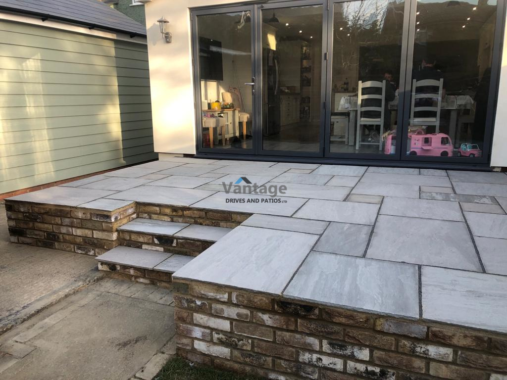 Elevated Kandla Grey Patio with Steps in Chelmsford