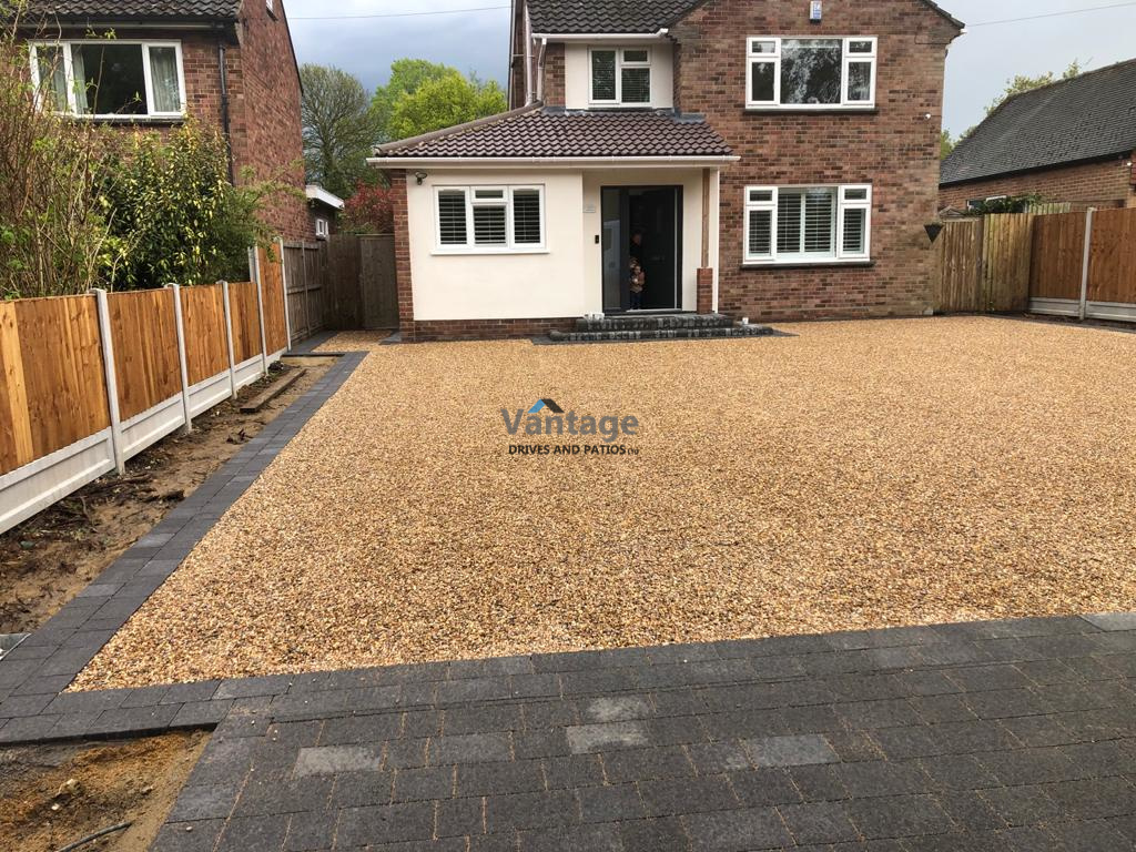 Gravel Driveway with Tegula Paved Apron and Border in Chelmsford