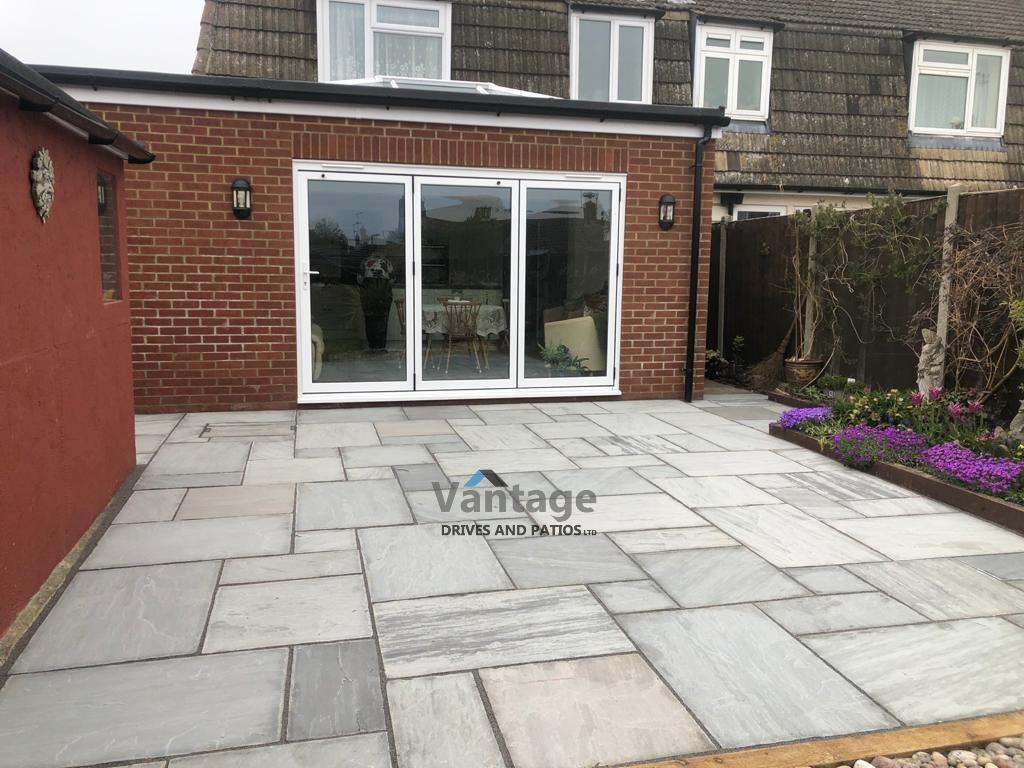 Kandla Grey Indian Sandstone Patio Installation in Chelmsford