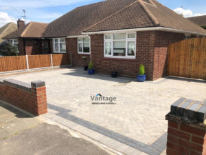 Ash Block Paved Driveway with New Fencing and Brick Walls in Chelmsford