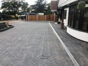 Barleystone Paved Driveway with New Fencing in St. Lawrence, Essex