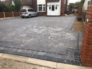 Tegula Paved Driveway with New Fencing and Walling in Chelmsford