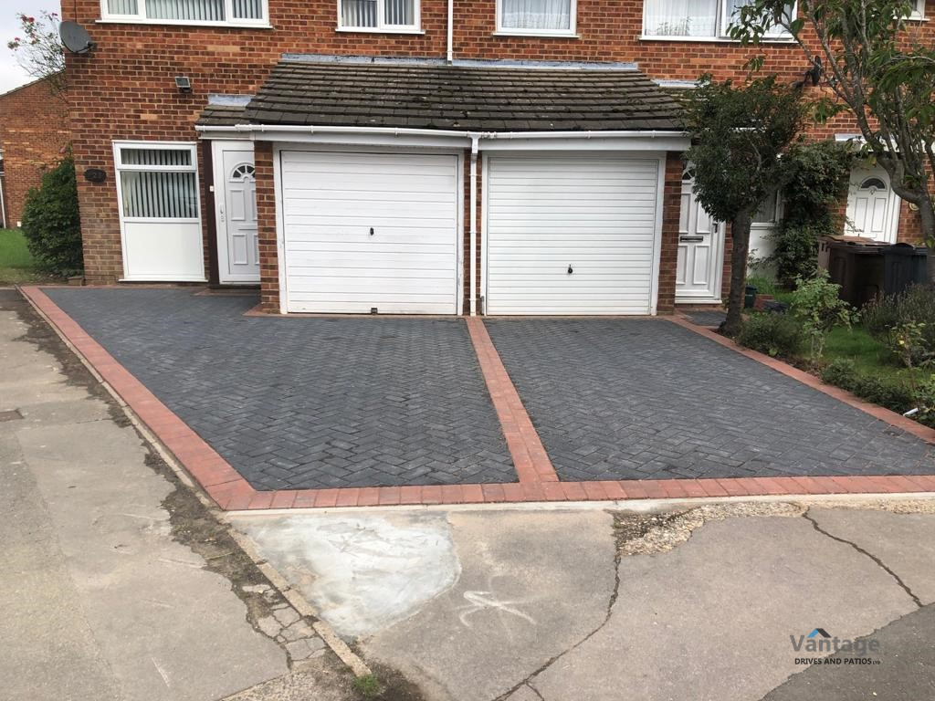 Two Adjacent Block Paved Driveways with Brindle Edging in Chelmsford